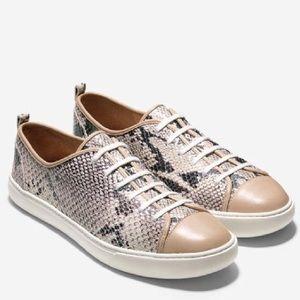 Cole Haan Beige Hendrix Snake Print Sneakers
